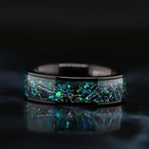 wedding photo - Customized Opal over Meteorite Ring Wedding Band  - FREE ENGRAVING