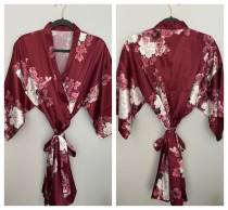 wedding photo - Burgundy floral robe, Sale! Silk Bridesmaid Robes, Bridesmaid Gifts, Floral Robe, Getting Ready Robes, Bridal Party Gift