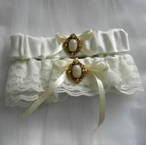 wedding photo - Lace Wedding Garter Set, Antique look, Gold and pearly button, ivory lace & ribbon (includes keepsake and toss garters) -- Size Medium