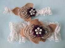 wedding photo - Plum Purple Wedding Garter Set, Burlap & Lace Garters, Rustic Garters, Eggplant / Amethyst Garter, Country Bride