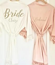 wedding photo - Personalised Bride Robe, Personalised Bridesmaid Robe, Satin Bridal Dressing Gown, Bridal Party Robes, Personalised Bridal Party Robes, Robe