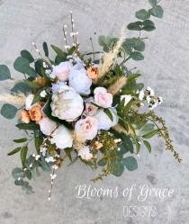 wedding photo - READY TO SHIP bride bouquet, elegant rose bouquet, garden wedding flowers, bride bouquet, organic flower bouquet, pampas grass wedding.