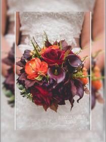 wedding photo - Fall wedding bouquet, plum round bouquet, callas and roses bride bouquet, orange and purple bridal bouquet.