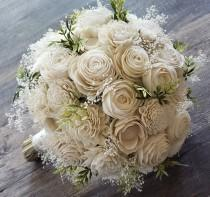 wedding photo - Sola flower bouquet,  ivory bouquet,  natural bouquet with greenery