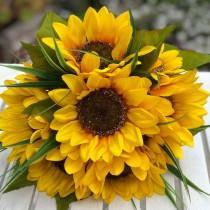 wedding photo - 10 Sunflower Stem Silk Flower Bridal Bouquet with Satin Ribbon Streamers-Rustic Wedding Decor - Large Bouquet