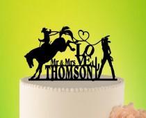 wedding photo - Cowboy Wedding Cake Topper, Country Cake Topper, Cowboy Rustic Topper, Catching his Ride, Western Wedding, Rustic Wedding Topper L2-01-008
