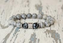 wedding photo - men jewelry grey bracelet. Husband gift. Hipster bracelet. gemstone beaded bracelet. Marble beads 10mm bead snowflake obsidian