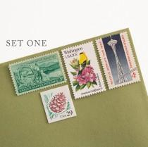wedding photo - PNW Vintage Postage Set // Seattle postage // vintage postage // custom postage // Pacific Northwest // Seattle stamps // PNW stamps