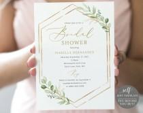 wedding photo - Bridal Shower Invitation Template, Greenery Hexagonal, Editable & Printable Instant Download, Templett, TRY Before You Buy