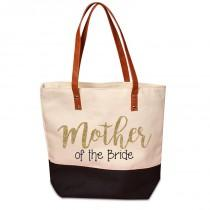 wedding photo - Cute Mother of the Bride or Groom Black Bottom Canvas Tote with Customized Glitter Design