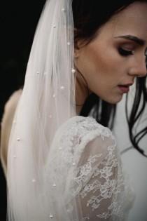 wedding photo - ADELE pearl embellished single tier wedding veil  cut edge bridal veil
