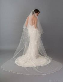 wedding photo - Double Tier with Satin Ribbon Wedding Veil, Bridal Veil Two Tier Wedding Veil, Satin Bias Wedding Veil, Klasic Veil, Ribbon Edge