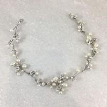 wedding photo - Vintage Silver Pearl & Diamante Hair Vine