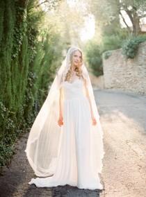 wedding photo - Juliet Cap Veil, Ivory Cathedral Veil, Silk Juliet Veil, Lace Wedding Veil, Long Bridal Veil, Handmade Veil, Bohemian Veil - Style 511