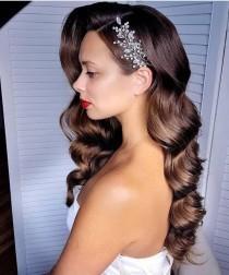 wedding photo - Silver crystal bridal hair piece, Rhinestone hair piece, bridal accessories, Rose gold headpiece, Crystal hair clip, Gold Wedding hair vine