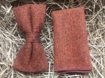 wedding photo - The Maple: Burnt Orange Flecked Wool Bow Tie, Rust Bow Tie, Brown Bow Tie, Bow Ties For Men, Wedding Ties