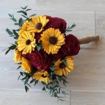 wedding photo - Sola Wood Flower Bouquet - Sunflower & Rose Wood Flower Bouquet - Wood Flower - Wood Flowers Bouquet