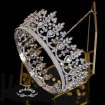 wedding photo - Silver Crowns For Brides with Swarovski Crystals-Crystal Crown-Wedding Headpiece-Prom Crown-Silver Princess Diadem-Swarovski Bridal Crown