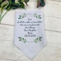 wedding photo - Personalised Hankie,  Father Of The Bride Handkerchief Gift, Dad Gift, Wedding Hankie, Wedding Hanky, Personalised Wedding Hanker-Chief,