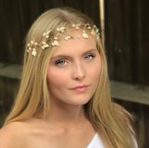 wedding photo - Boho Inspired Leaf Hair Vine, This Simple Leaf Hair Accessory Comes In Gold Or Silver