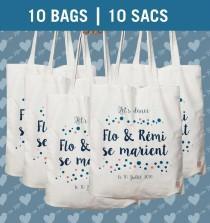 wedding photo - Bulk of 10 bags, Tote bag personnalized, Wedding gift Bag, Bridesmaid Tote, wedding bag, wedding tote, bridesmaid, Printed Cotton Tote Bag