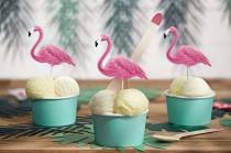 wedding photo - Flamingo Cake Toppers, Tropical Food Picks 6pk