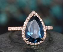 wedding photo - 8x12mm London blue topaz engagement ring rose gold diamond halo ring big topaz ring gold unique pear antique wedding bridal promise ring