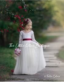 wedding photo - tulle flower girl dress, rustic lace flower girl dress, long sleeve flower girl dresses, boho flower girl dress, ivory flower girl dress
