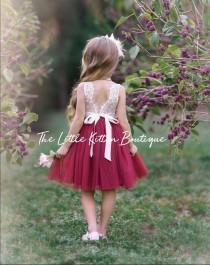 wedding photo - tulle flower girl dress, lace flower girl dress, bohemian flower girl dress, boho flower girl dress, ivory flower girl dress, beach, country