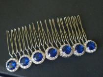 wedding photo - Navy Blue Crystal Hair Comb, Wedding Dark Blue Hair Piece, Bridal Sapphire Headpiece, Wedding Blue Hairpiece, Wedding Hair Accessories