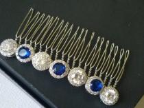 wedding photo - Bridal Crystal Hair Comb, Navy Blue Headpiece, Dark Blue Bridal Hairpiece, Sapphire Silver Headpiece, Deep Blue Hair Piece, Hair Jewelry