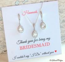 wedding photo - Bridesmaid Jewelry Set, Bridesmaid Gifts, Bridesmaid jewelry, Bridesmaid proposal, Bridal party gifts, CZ Necklace & Earrings Set