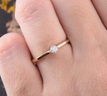 wedding photo - Promise ring gold, Yellow gold ring, Engagement ring, Solitaire ring, Women promise ring, Promise ring for her, Tiny ring, Dainty ring