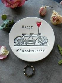 wedding photo - Pottery Anniversary, Personalized Bicycle Love Plate, 9th Anniversary Gift, Tandem and Heart Ceramic Ring Dish Ivory Ring Pillow
