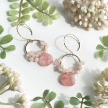 wedding photo - Pink Gemstone Earrings, Rose Quartz Earrings, Cherry Quartz Earrings, Morganite Earrings, Gemstone Earrings, Made in Hawaii, Gift under 35