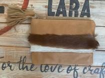wedding photo - Lara Leather Clutch with Springbok Hide Hand Strap