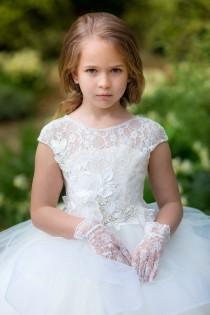 wedding photo - First Communion Baptism Ivory flower girl dress Princess Birthday toddler baby