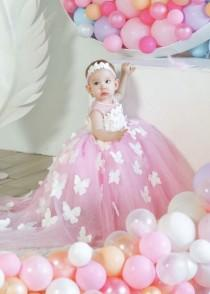 wedding photo - First birthday pink gown with butterflies for baby girl, dress for 1st birthday party, wedding theme butterfly, dress with train for girls