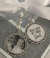 wedding photo - Memory memorial heaven charm bridal bouquet, walk with me today dad mum poem & photo pearl beads something blue.Swarovski.bride.wedding