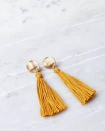 wedding photo - Dot tassle earrings marigold yellow sunshine mustarf blush pink gold handmade tassel drop dangle fun romantic women bridal bridesmaid matte