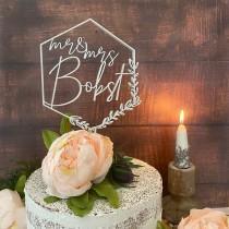 wedding photo - Geometric Wedding Cake Topper, Floral Wedding Cake Toppers, Custom Cake Topper, wood, acrylic, Birthday Bridal Anniversary Bachelorette