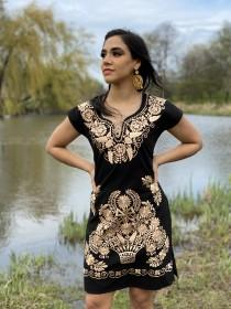 wedding photo - Mexican Gold Embroidered Dress. Beautiful Traditional Black Dress. Handmade Mexican Dress.
