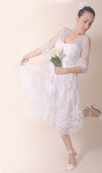 wedding photo - Romantic lace short bridal gown , wedding party dress with sleeve, knee length,  beach wedding , custom made dress