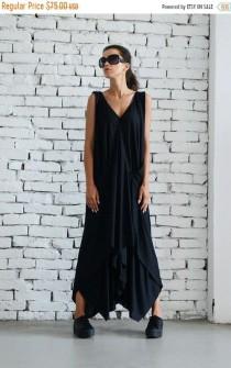 wedding photo - 20% OFF Maxi Black Dress/Plus Size Dress/Casual Summer Dress/Asymmetric Long Tunic/Oversize Tunic Dress/Plus Size Maxi Dress by METAMORPHOZA