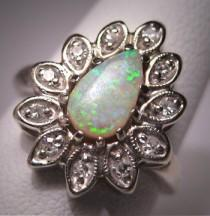 wedding photo - Vintage Australian Opal Diamond Ring Antique Retro Deco