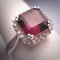 wedding photo - Vintage Emerald Cut Garnet Diamond Ring Art Deco Wedding Engagement