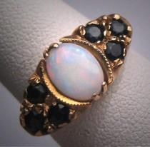 wedding photo - Antique Australian Opal sapphire Ring Wedding Vintage Victorian Art Deco c.1900