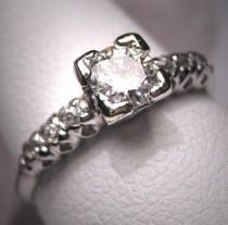 wedding photo - Antique Platinum Diamond Wedding Ring Vintage Art Deco