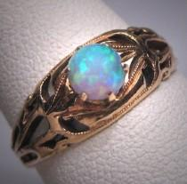 wedding photo - Antique Australian Opal Ring Victorian 14K Gold Wedding Filigree Band 1890