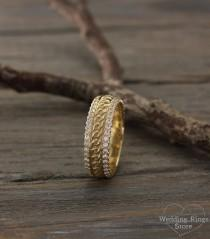 wedding photo - Vintage style promise ring, Chain wedding band, Unique wedding ring, Wide gold ring, CZ wedding ring, Anniversary ring, 14K solid gold ring